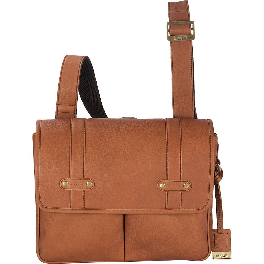 Bugatti Perreira Leather Messenger Bag Cognac Bugatti Messenger Bags