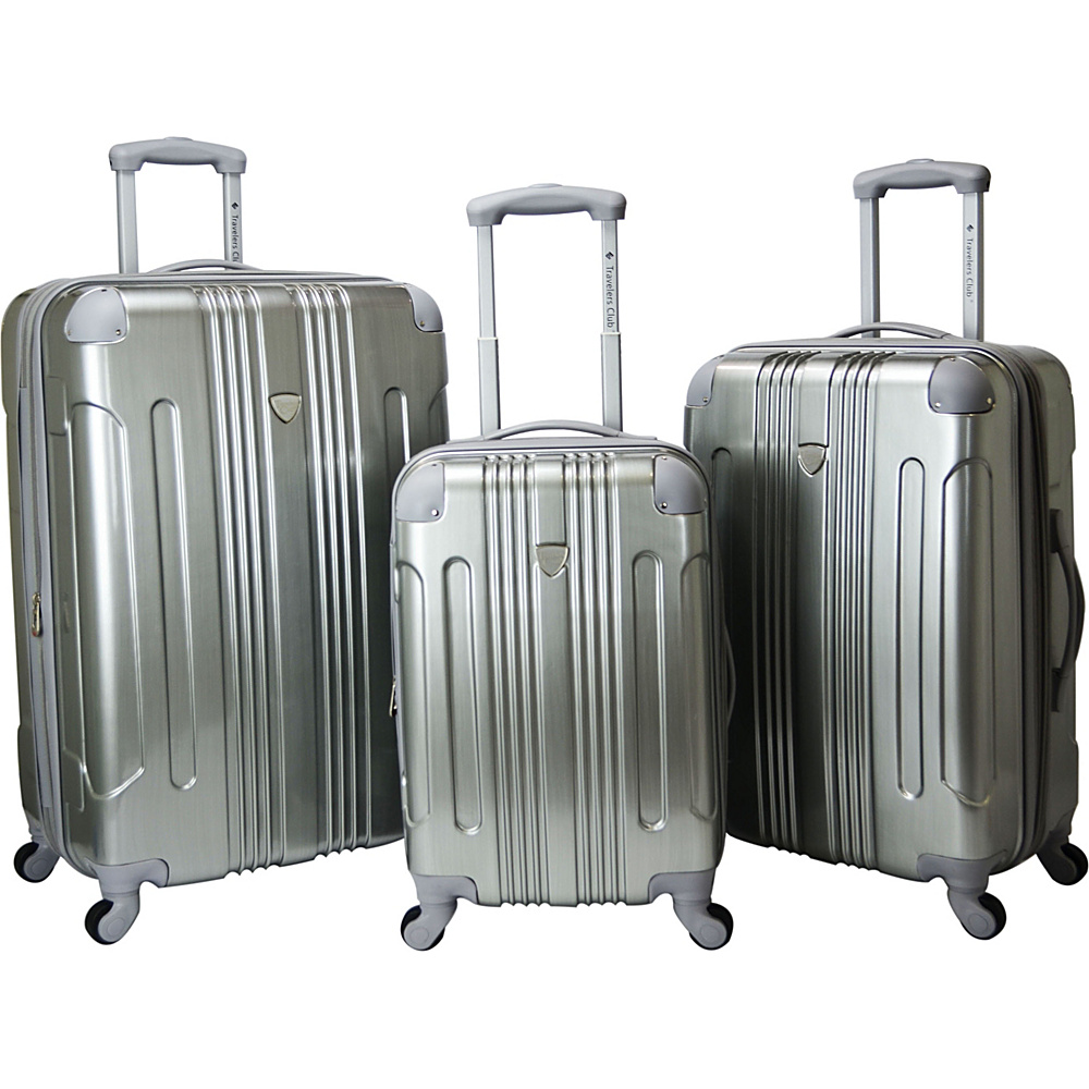 Travelers Club Luggage Polaris 3-Piece Metallic Hardside Expandable Spinner Luggage Collection Silver - Travelers Club Luggage Luggage Sets