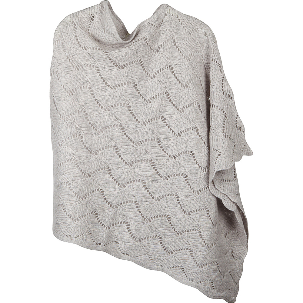 Kinross Cashmere Zig Zag Pointelle Drape Poncho One Size  - Birch - Kinross Cashmere Womens Apparel - Apparel & Footwear, Women's Apparel