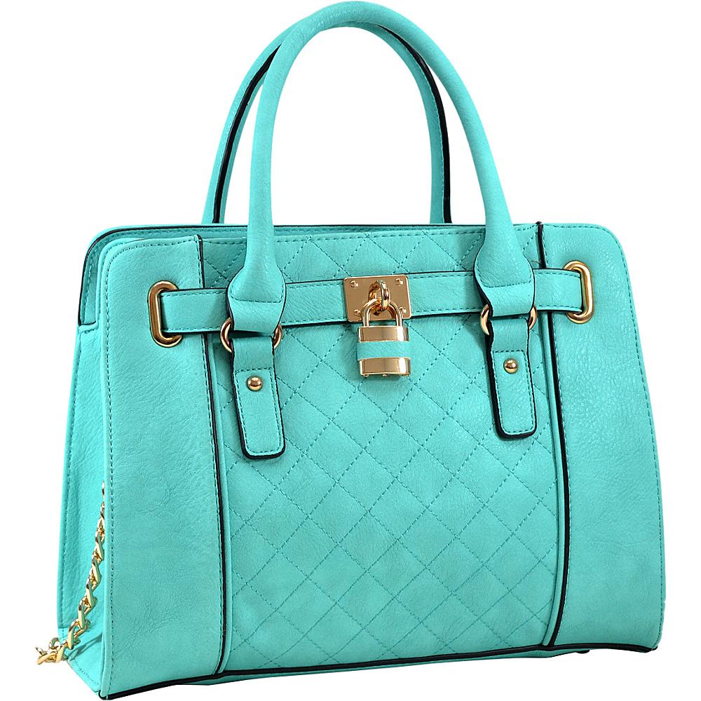 Dasein Medium Satchel with Shoulder Strap Turquoise - Dasein Manmade Handbags - Handbags, Manmade Handbags