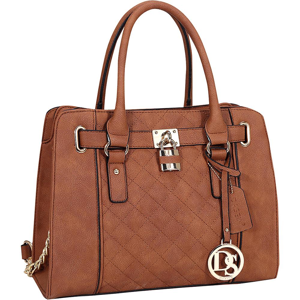 Dasein Medium Satchel with Shoulder Strap Brown - Dasein Manmade Handbags - Handbags, Manmade Handbags