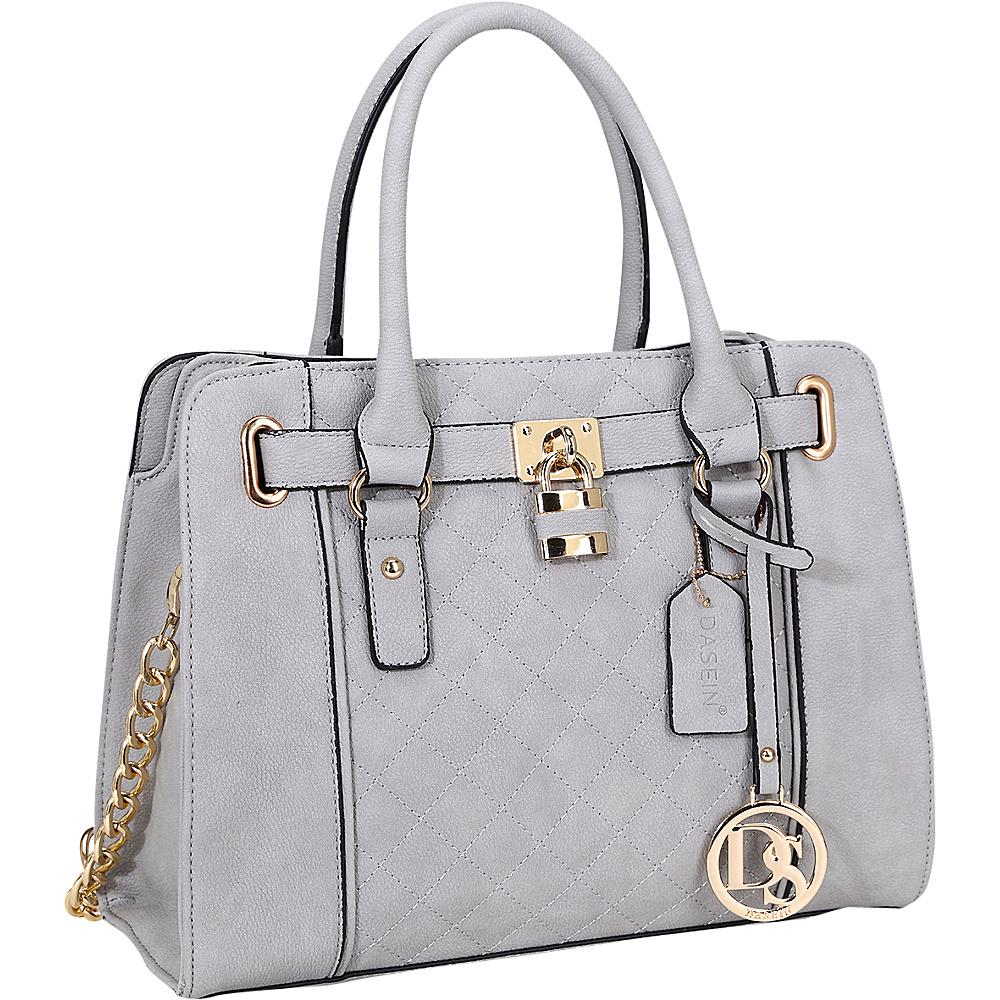 Dasein Medium Satchel with Shoulder Strap Grey - Dasein Manmade Handbags - Handbags, Manmade Handbags