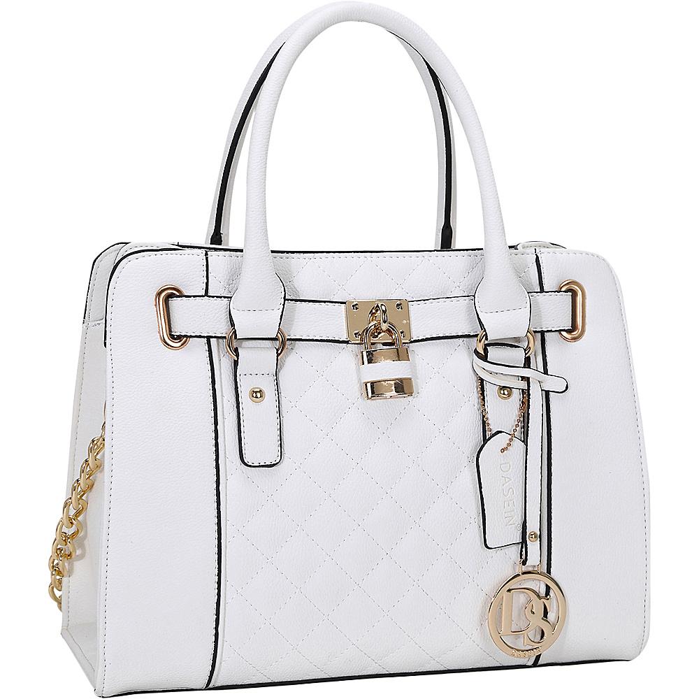 Dasein Medium Satchel with Shoulder Strap White - Dasein Manmade Handbags - Handbags, Manmade Handbags