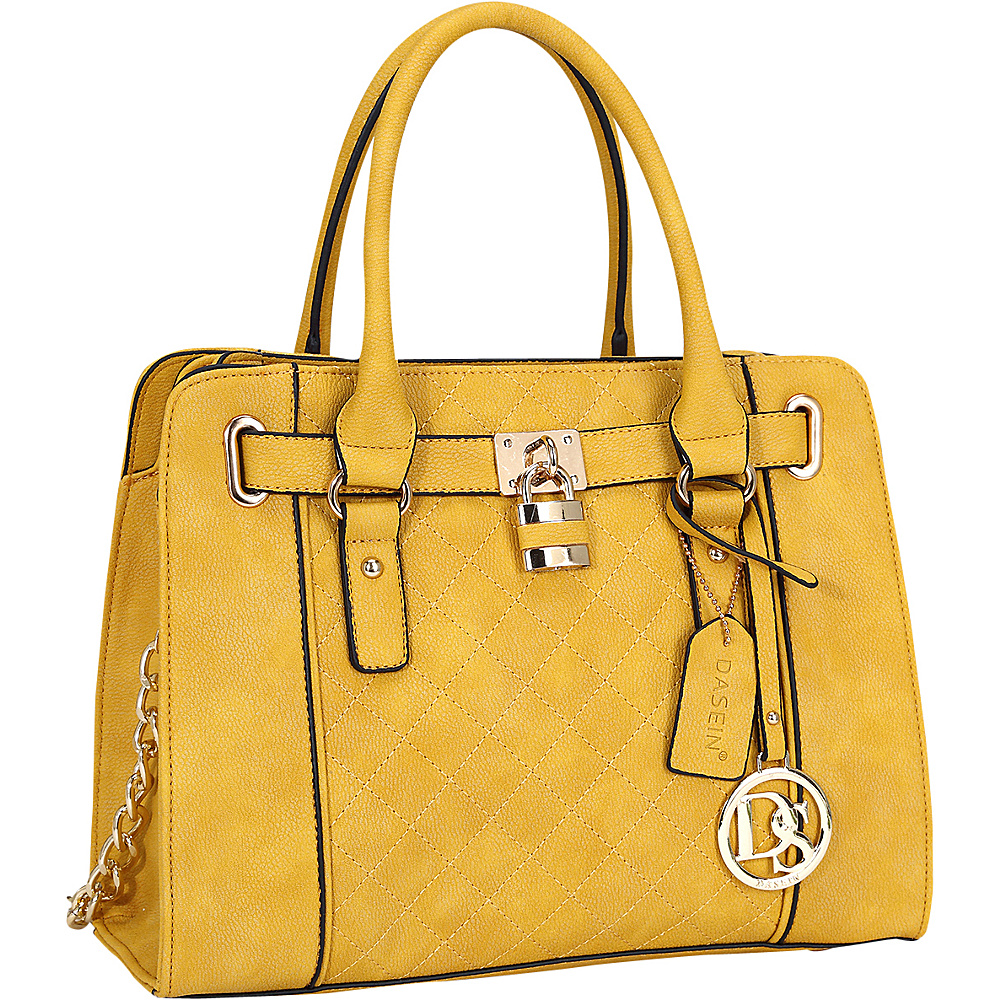 Dasein Medium Satchel with Shoulder Strap Yellow - Dasein Manmade Handbags - Handbags, Manmade Handbags