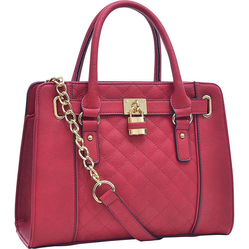 Dasein Medium Satchel with Shoulder Strap Red - Dasein Manmade Handbags - Handbags, Manmade Handbags