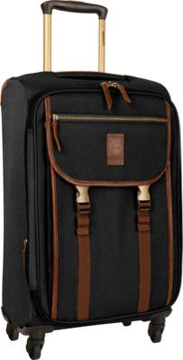 Timberland Reddington 21 inch Expandable Spinner Suitcase Black - Timberland Softside Carry-On