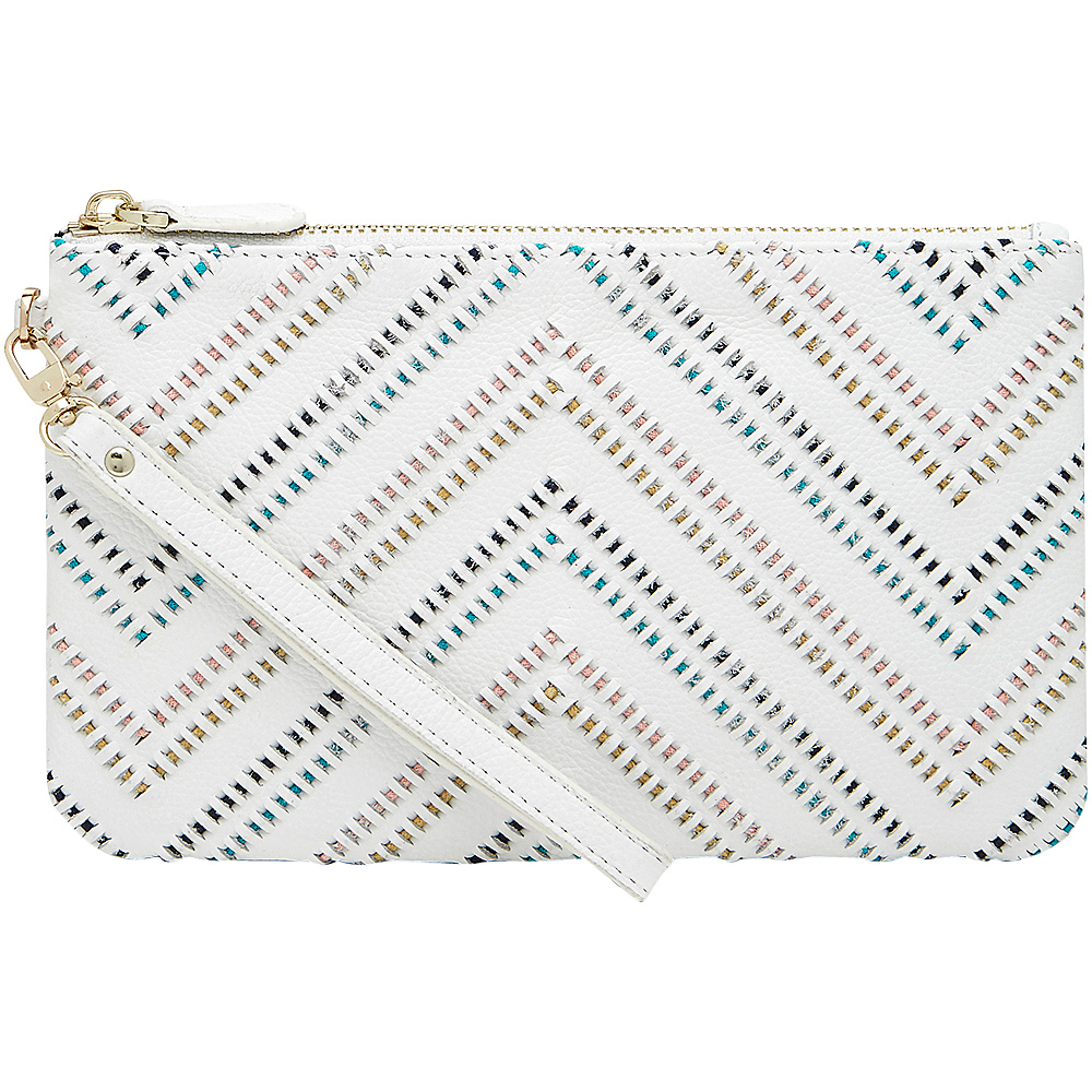 HButler Mighty Purse Cell Charging Wristlet Tribal White HButler Leather Handbags
