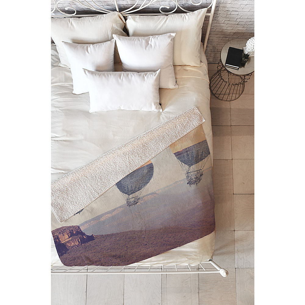 DENY Designs Maybe Sparrow Photography Sherpa Fleece Blanket Desert Canyon Balloons DENY Designs Travel Pillows Blankets