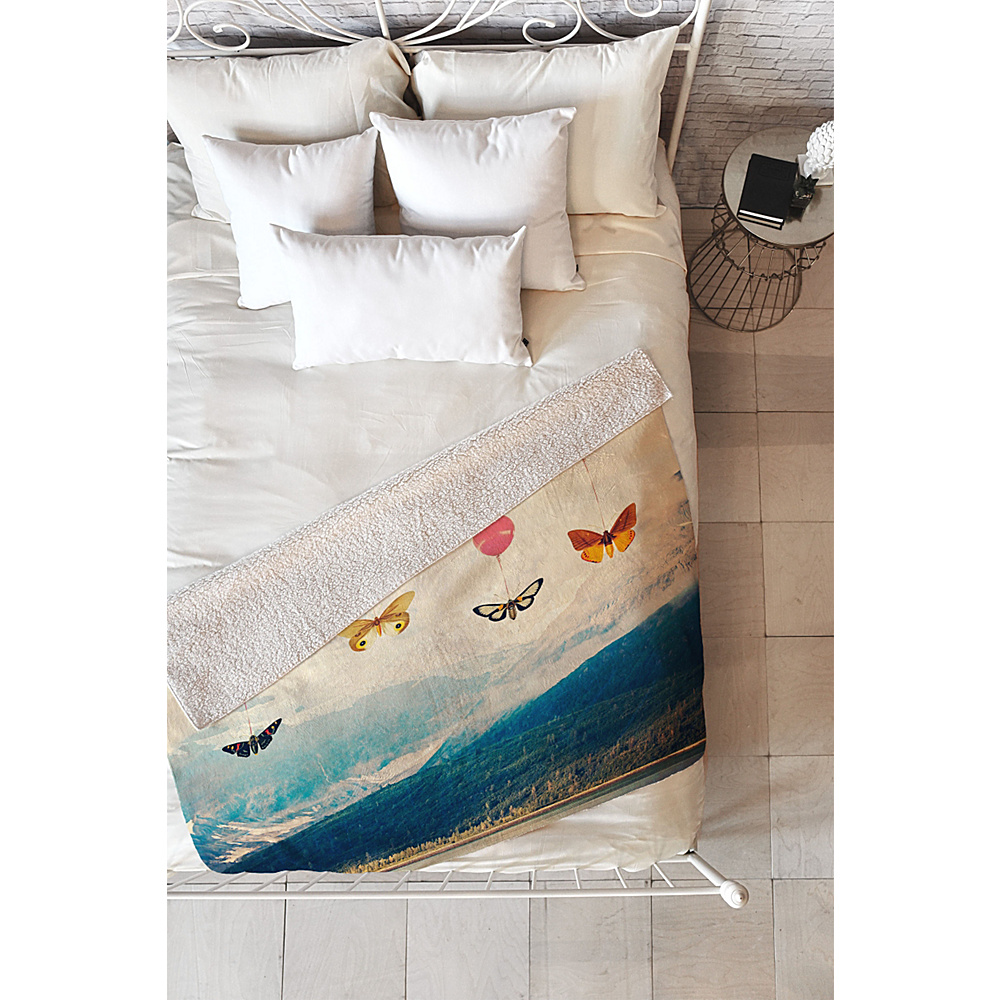 DENY Designs Maybe Sparrow Photography Sherpa Fleece Blanket Bright Red Passage DENY Designs Travel Pillows Blankets