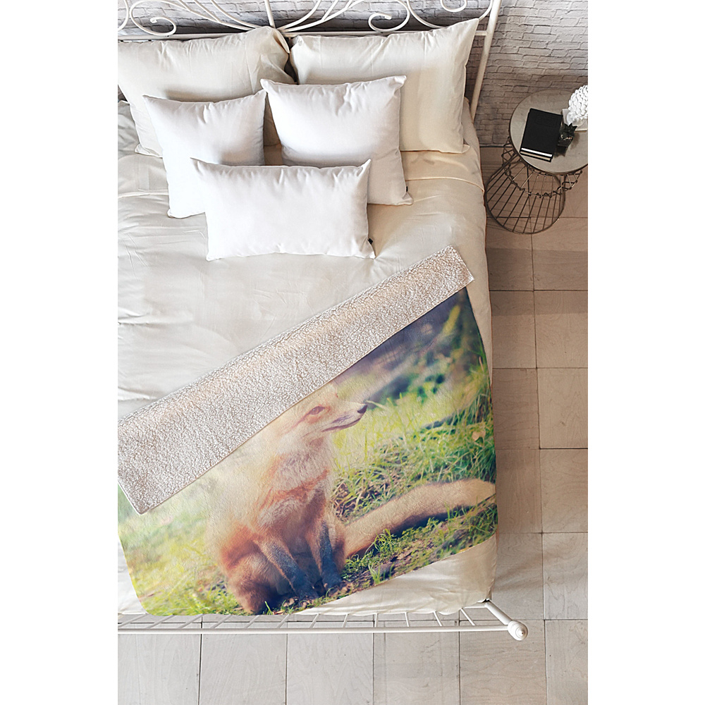 DENY Designs Maybe Sparrow Photography Sherpa Fleece Blanket Grass Sunny Fox DENY Designs Travel Pillows Blankets