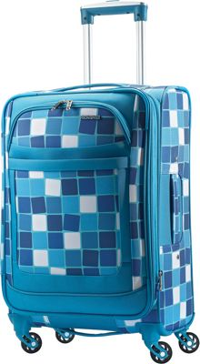 American Tourister iLite Max Spinner 25 Light Blue Checks - American Tourister Softside Checked
