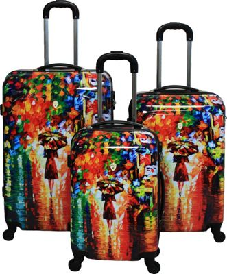 Dejuno 3-Piece Lightweight Hardside Luggage Set Parisian Nights - Dejuno Luggage Sets