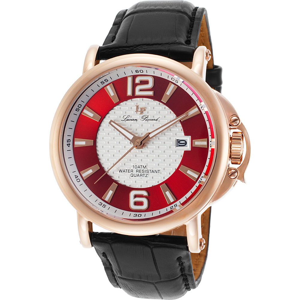 Lucien Piccard Watches Triomf Leather Band Watch Black/Red & White/Rose Gold - Lucien Piccard Watches Watches