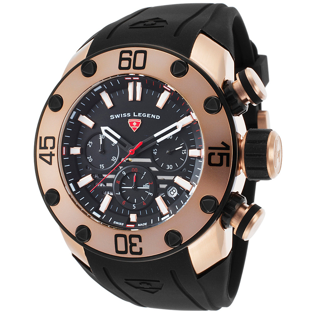 Swiss Legend Watches Lionpulse Chronograph Silicone Band Watch Black/Black/Rose Gold - Swiss Legend Watches Watches