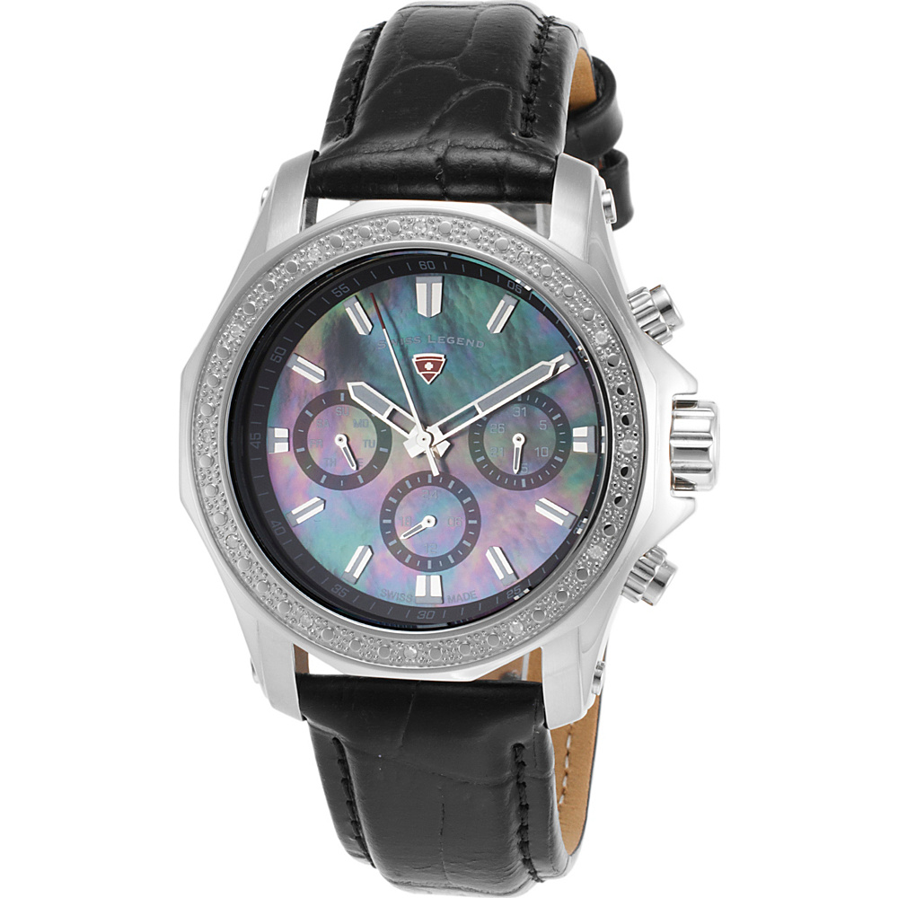 Swiss Legend Watches Islander Diamonds Genuine Leather Band Watch Black/Black Pearl - Swiss Legend Watches Watches