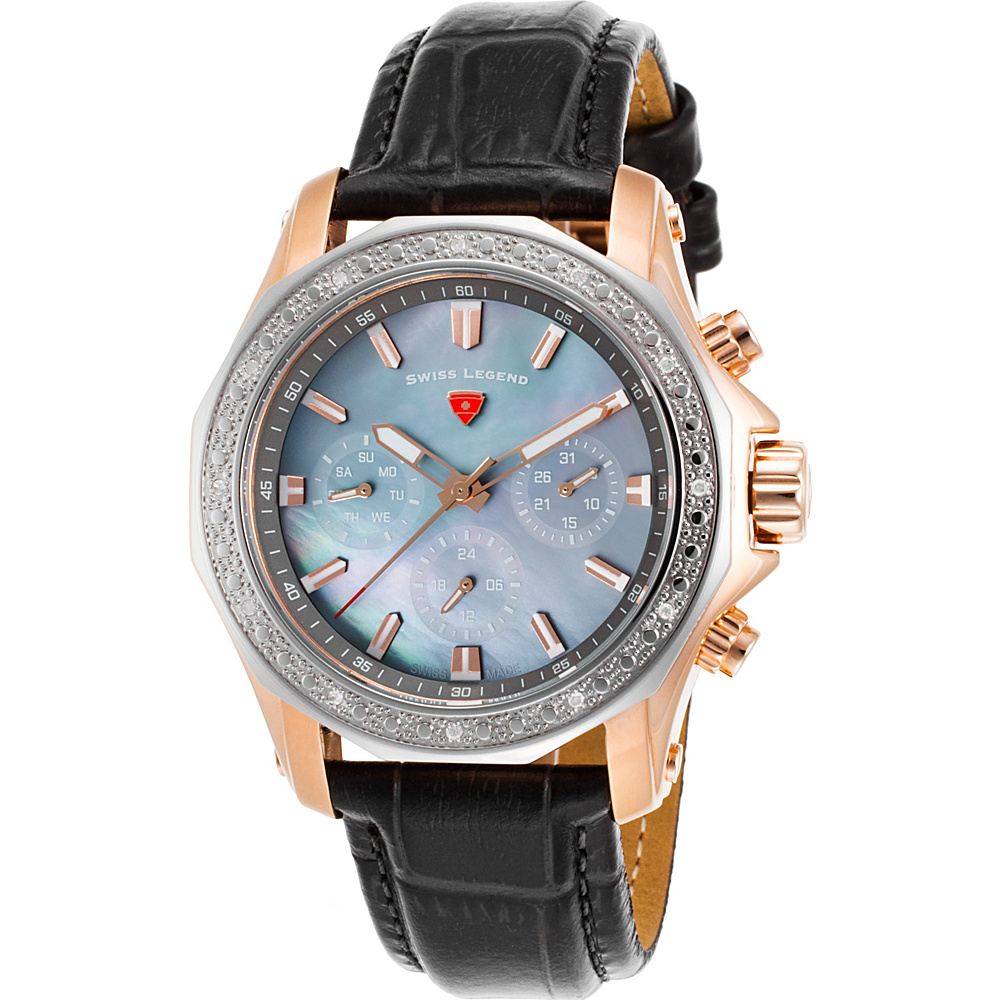 Swiss Legend Watches Islander Diamonds Genuine Leather Band Watch Black/Grey Pearl - Swiss Legend Watches Watches