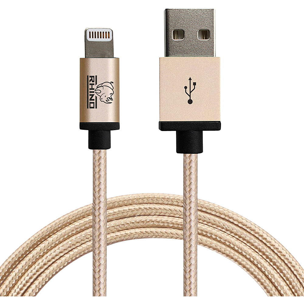 Rhino Paracord Sync Charge 1 meter MFI Lightning Cable Gold Rhino Electronic Accessories