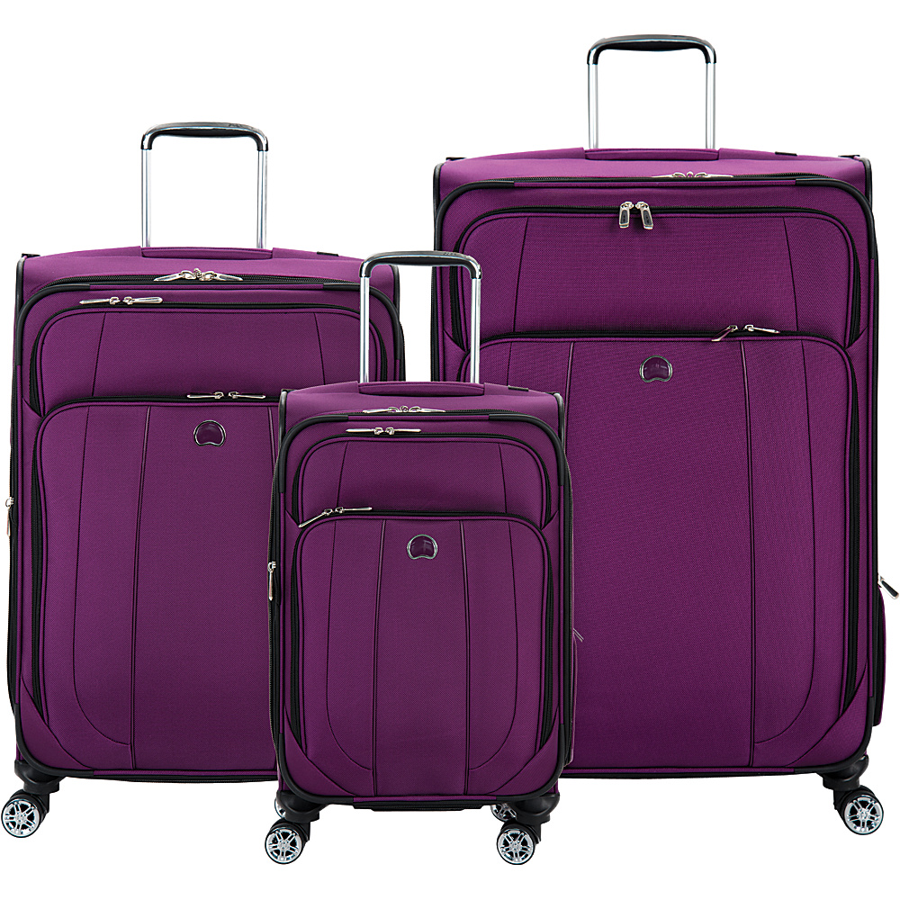 delsey helium cruise 3 piece expandable 4 wheel spinner luggage set new ebay. Black Bedroom Furniture Sets. Home Design Ideas