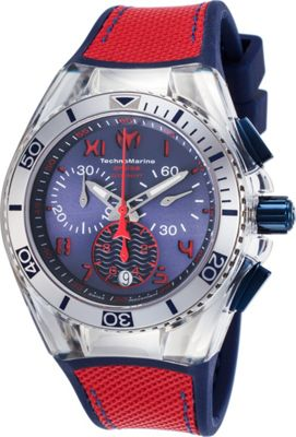 TechnoMarine Watches Womens Cruise California Chronograph Silicone and Canvas Band Watch Blue/red - TechnoMarine Watches Watches