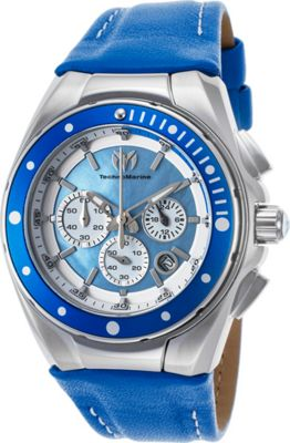 TechnoMarine Watches Womens Manta Ray Chronograph Genuine Leather Band Watch Blue - TechnoMarine Watches Watches