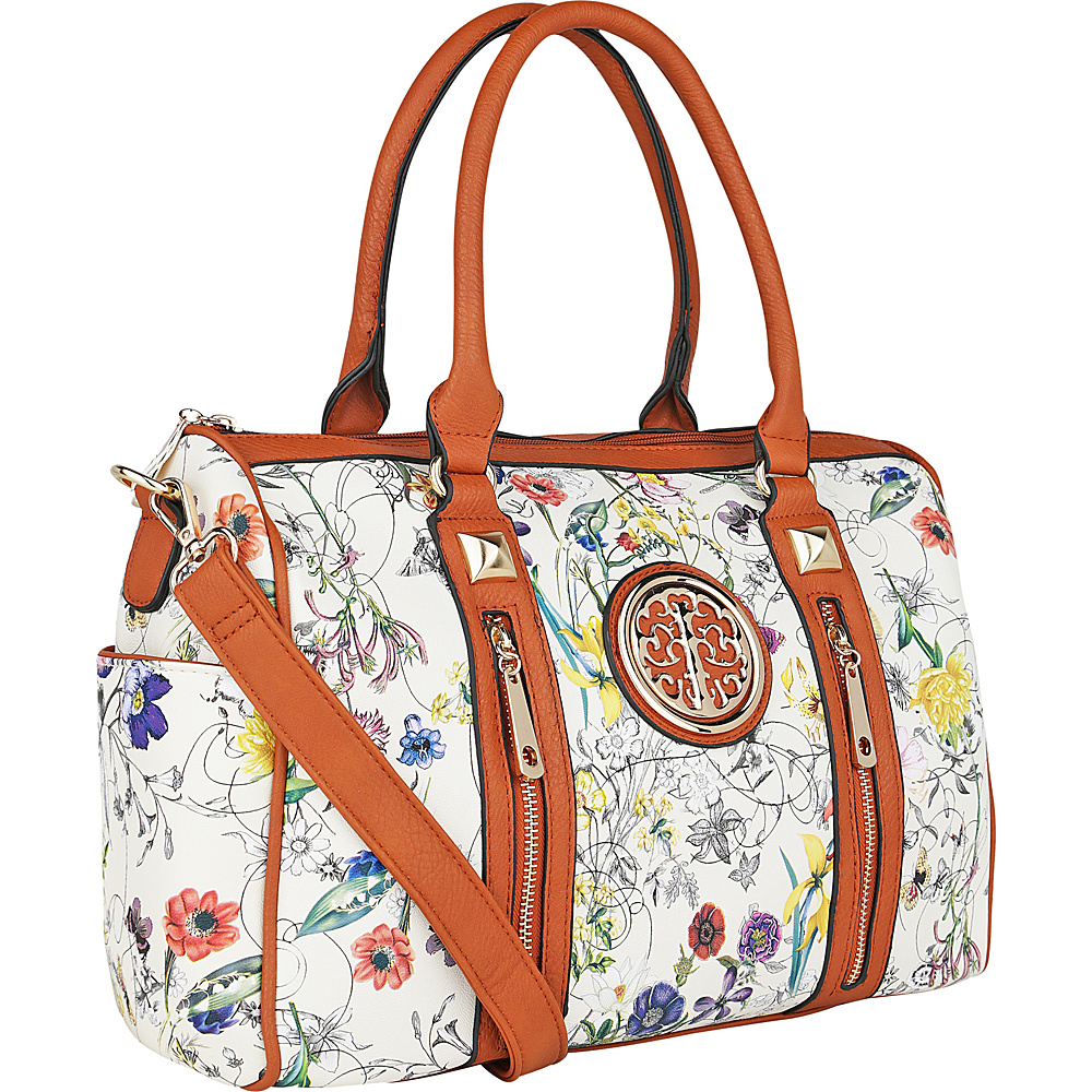 MKF Collection Bloom Floral Print Overnight Satchel Beige - MKF Collection Manmade Handbags - Handbags, Manmade Handbags