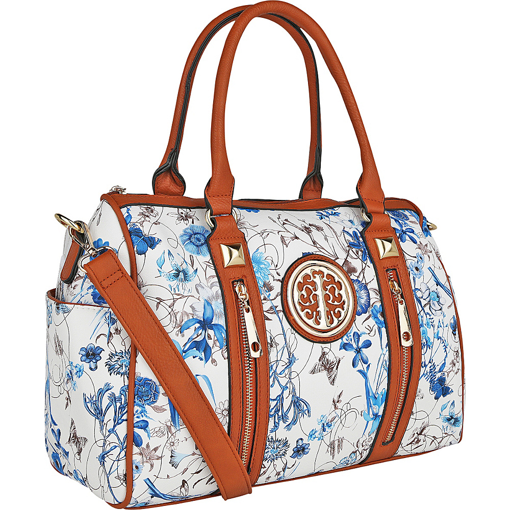 MKF Collection Bloom Floral Print Overnight Satchel Blue - MKF Collection Manmade Handbags - Handbags, Manmade Handbags