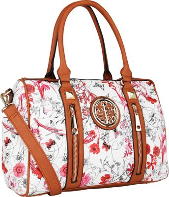 MKF Collection Bloom Floral Print Overnight Satchel Red - MKF Collection Manmade Handbags