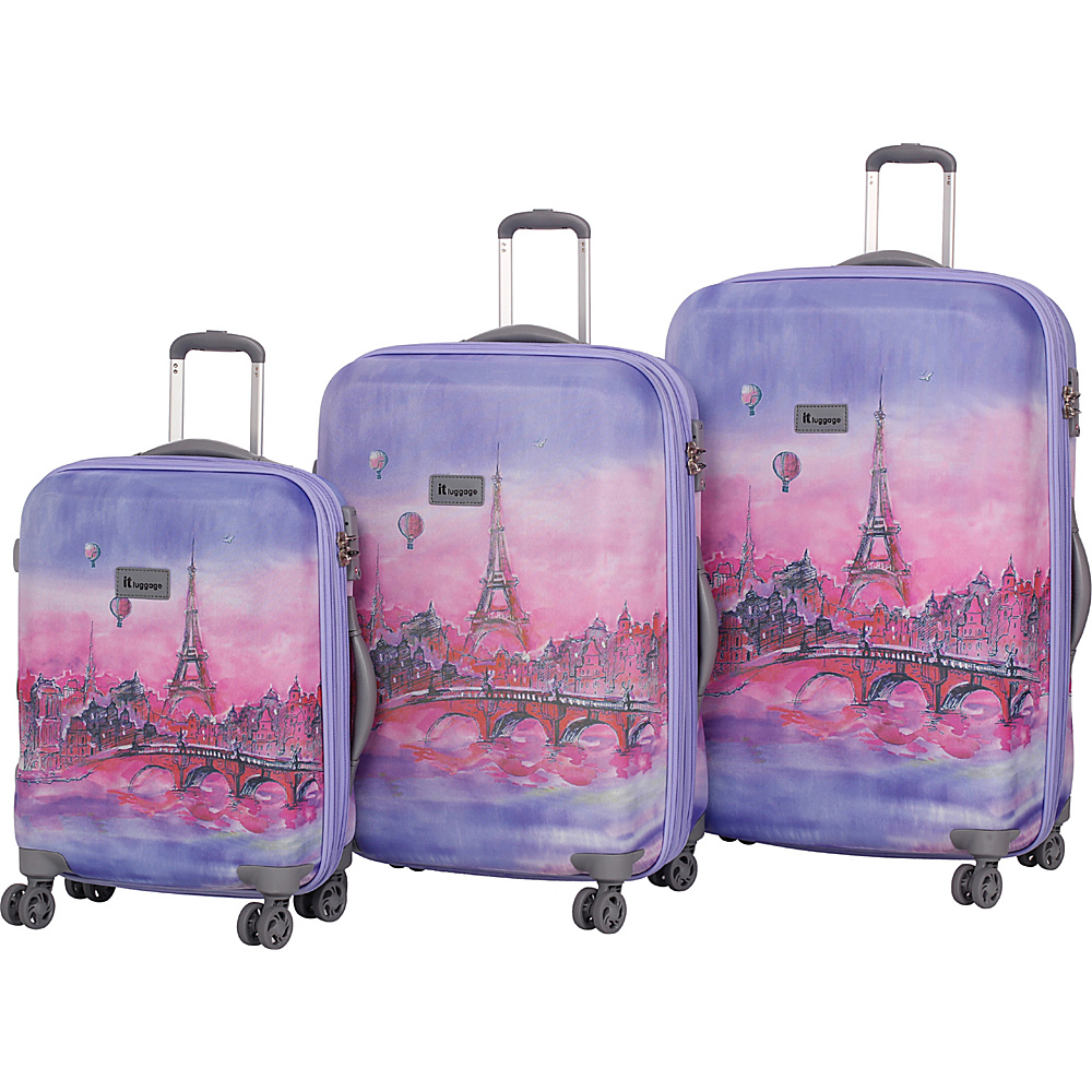 it luggage Ionian Classic 8 Wheel 3 Piece Set Lilac Paris Painting Balloons - it luggage Luggage Sets