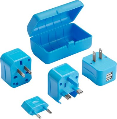 Lewis N. Clark Adapter Plug Kit with 2.1A Dual USB Charger Blue - Lewis N. Clark Portable Batteries & Chargers 10471570