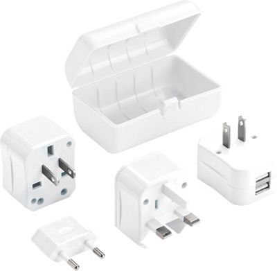 Lewis N. Clark Adapter Plug Kit with 2.1A Dual USB Charger WHI - Lewis N. Clark Portable Batteries & Chargers 10471571