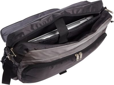 Geoffrey Beene Luggage Geoffrey Beene Luggage Tech Messenger Bag Black and Gray - Geoffrey Beene Luggage Messenger Bags