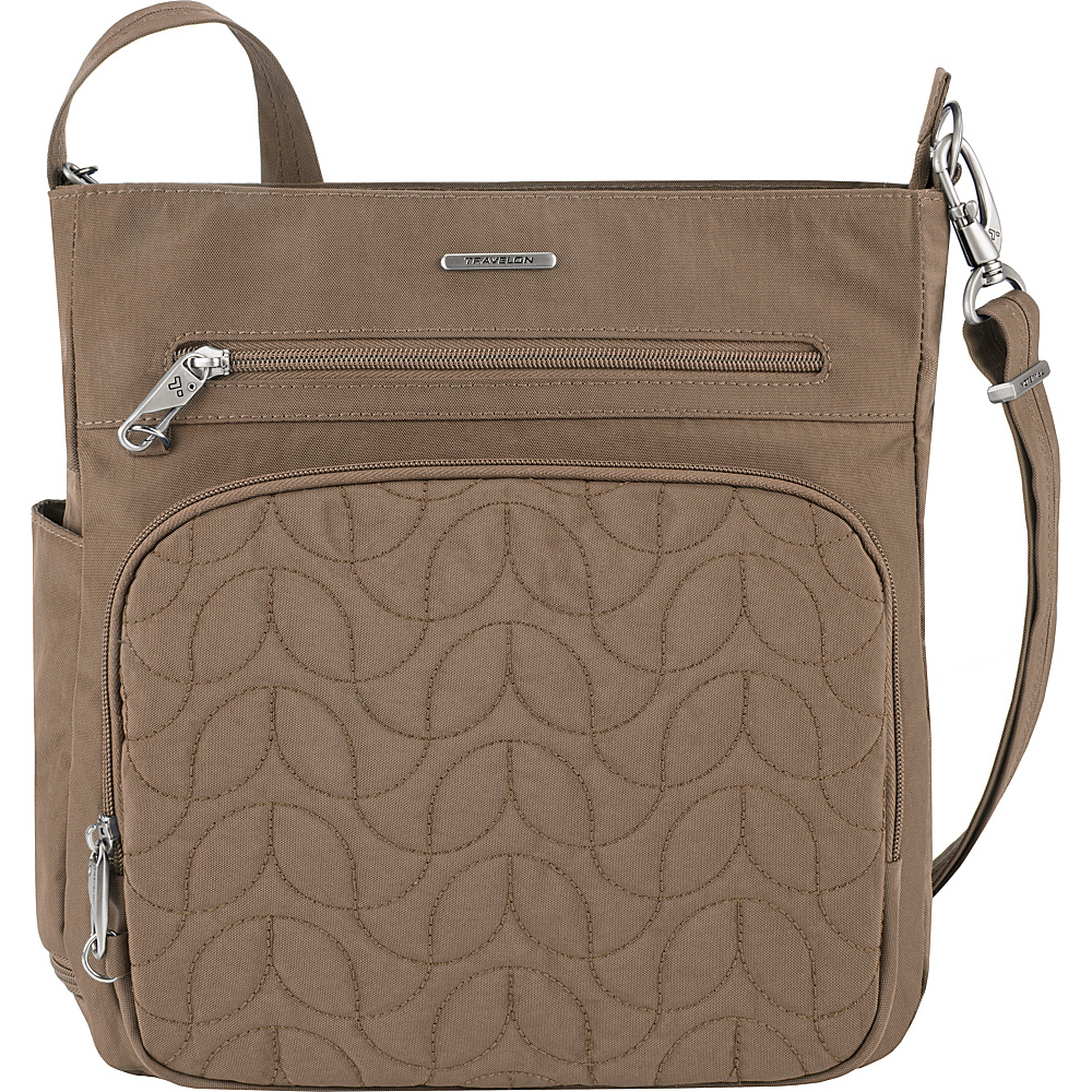 Travelon Anti-Theft Quilted North South Crossbody - Exclusive Sable/Dark Emerald Interior - Travelon Fabric Handbags - Handbags, Fabric Handbags