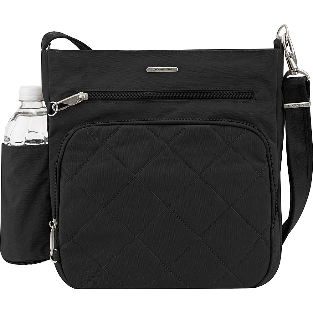 Travelon Anti-Theft North South Crossbody - Exclusive Black - Travelon Fabric Handbags - Handbags, Fabric Handbags