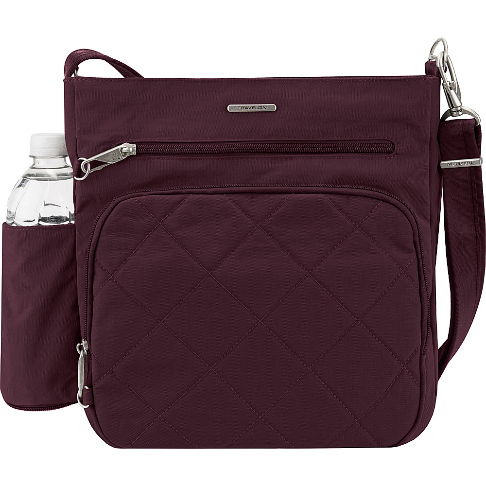 Travelon Anti-Theft North South Crossbody - Exclusive Dark Bordeaux/Sand - Travelon Fabric Handbags - Handbags, Fabric Handbags