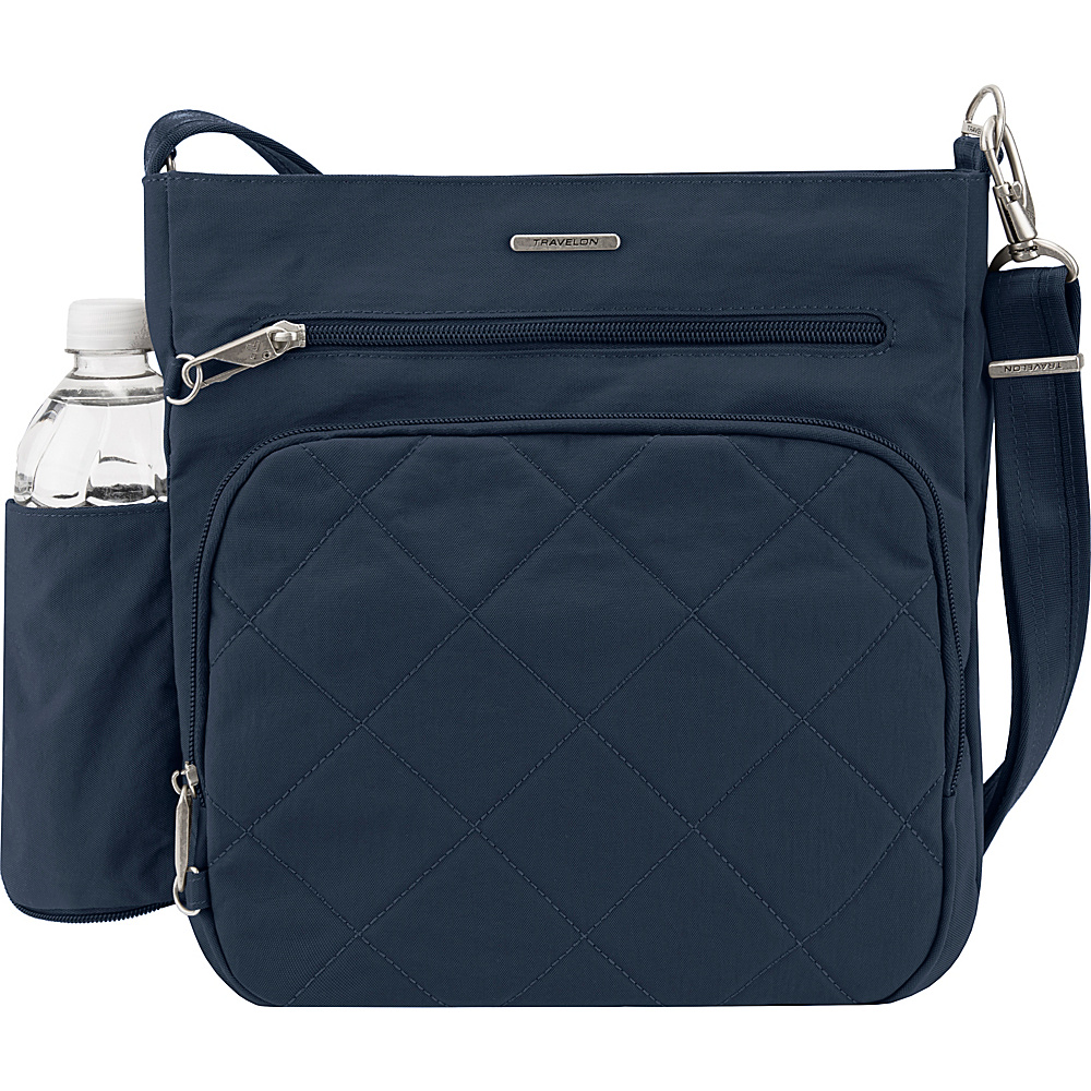 Travelon Anti-Theft North South Crossbody - Exclusive Navy/Dark Khaki - Travelon Fabric Handbags - Handbags, Fabric Handbags