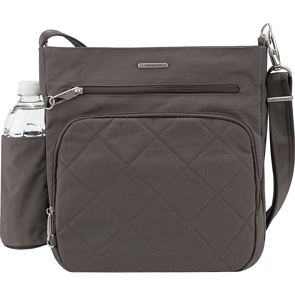 Travelon Anti-Theft North South Crossbody - Exclusive Smoke/Teal - Travelon Fabric Handbags - Handbags, Fabric Handbags