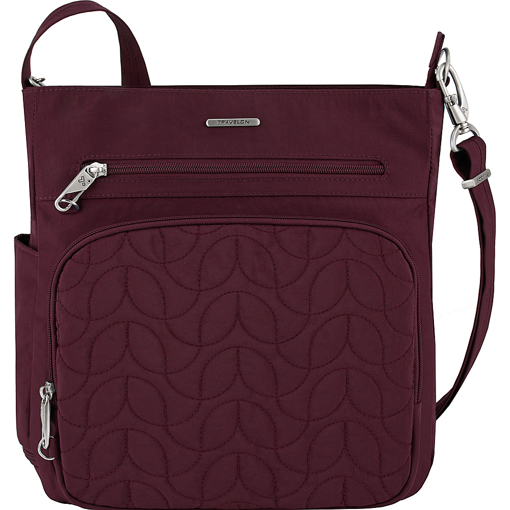 Travelon Anti-Theft Quilted North South Crossbody - Exclusive Dark Bordeaux/Dusty Rose Interior - Travelon Fabric Handbags - Handbags, Fabric Handbags