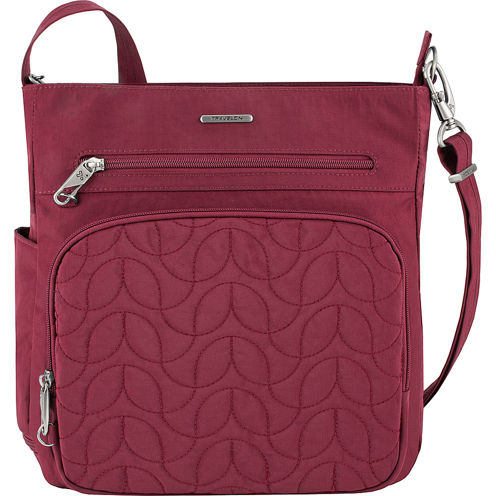 Travelon Anti-Theft Quilted North South Crossbody - Exclusive Ruby/Dusty Rose Interior - Travelon Fabric Handbags - Handbags, Fabric Handbags