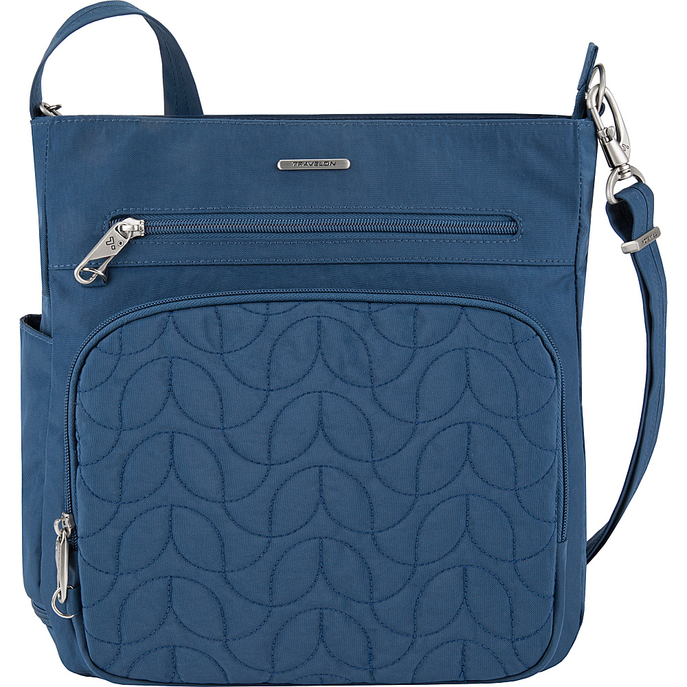 Travelon Anti-Theft Quilted North South Crossbody - Exclusive Ocean/Teal Interior - Travelon Fabric Handbags - Handbags, Fabric Handbags