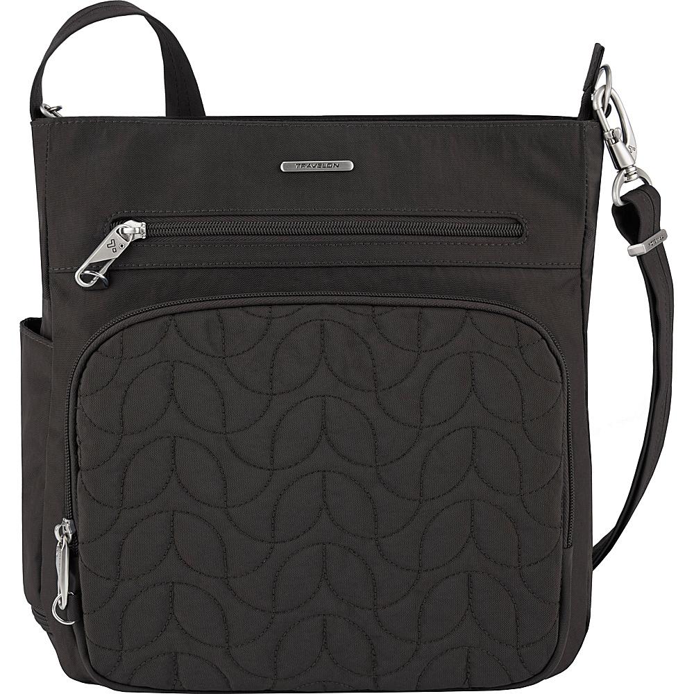 Travelon Anti-Theft Quilted North South Crossbody - Exclusive Black/Dark Emerald Interior - Travelon Fabric Handbags - Handbags, Fabric Handbags