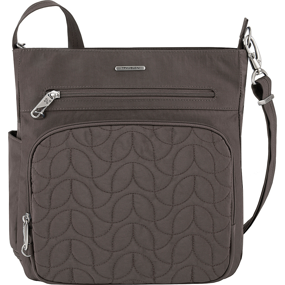 Travelon Anti-Theft Quilted North South Crossbody - Exclusive Smoke/Teal Interior - Travelon Fabric Handbags - Handbags, Fabric Handbags