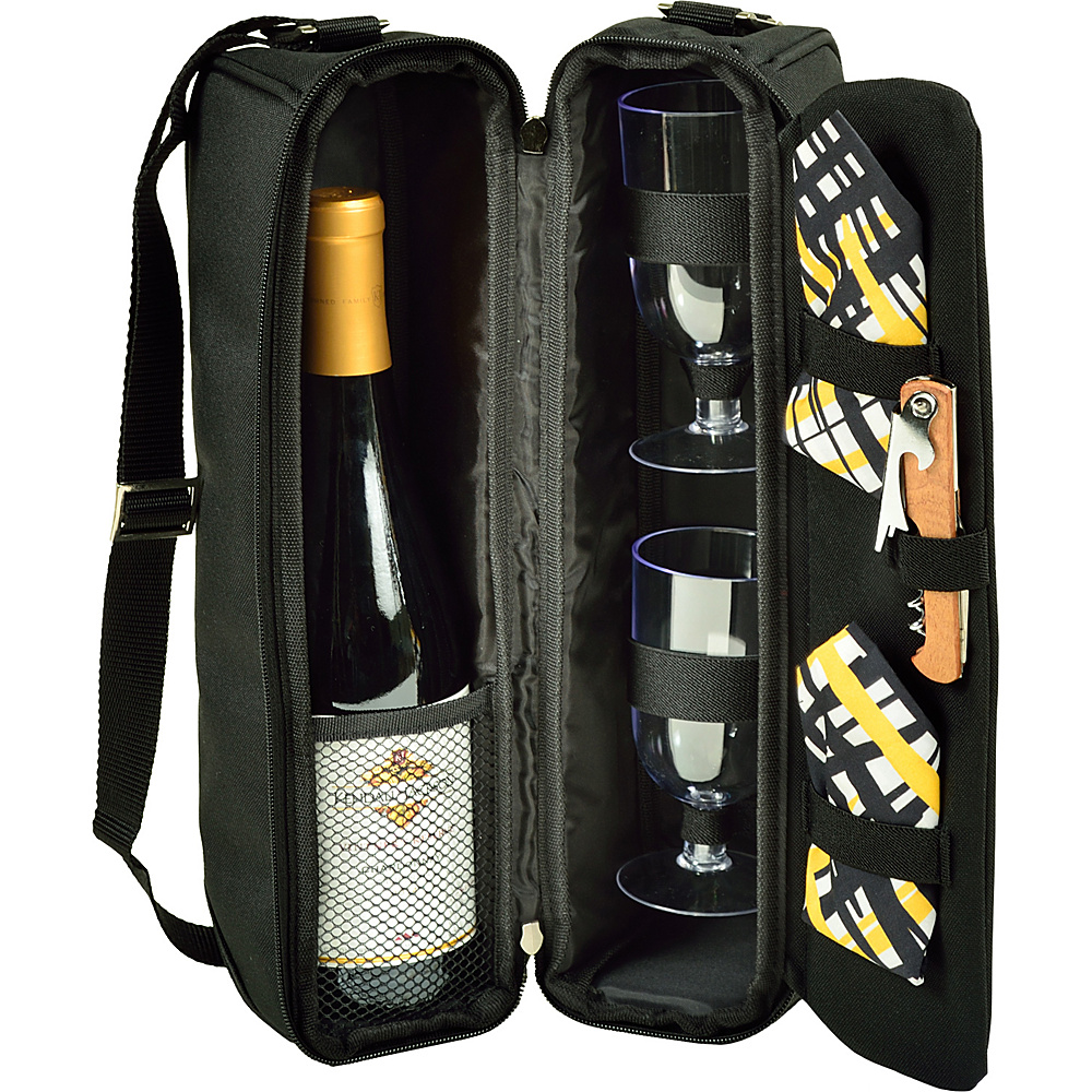 Picnic at Ascot Deluxe Insulated Wine Tote with 2 Wine Glasses, Bottle Stopper, & Corkscrew Black with Paris - Picnic at Ascot Outdoor Coolers - Outdoor, Outdoor Coolers