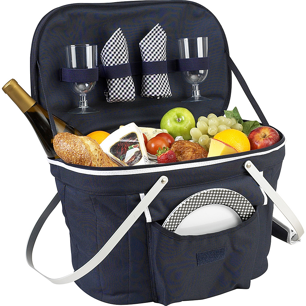 Picnic at Ascot Collapsible Insulated Picnic Basket Equipped with Service For 2 Navy - Picnic at Ascot Outdoor Coolers - Outdoor, Outdoor Coolers