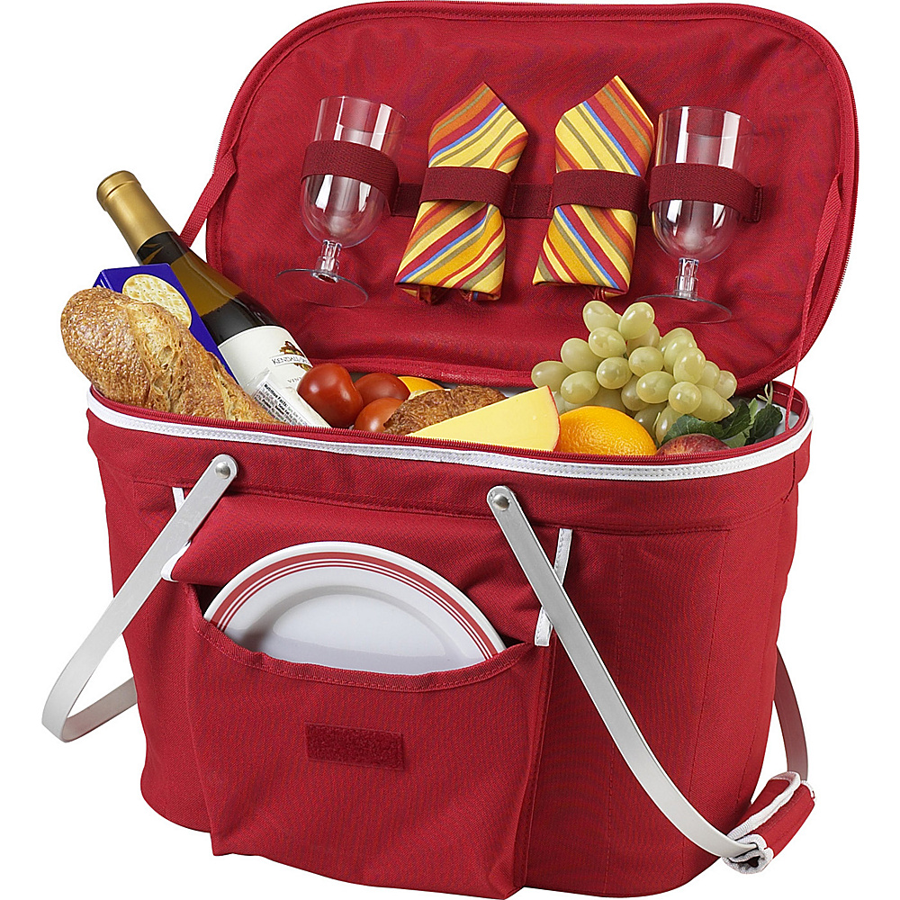 Picnic at Ascot Collapsible Insulated Picnic Basket Equipped with Service For 2 Red - Picnic at Ascot Outdoor Coolers - Outdoor, Outdoor Coolers