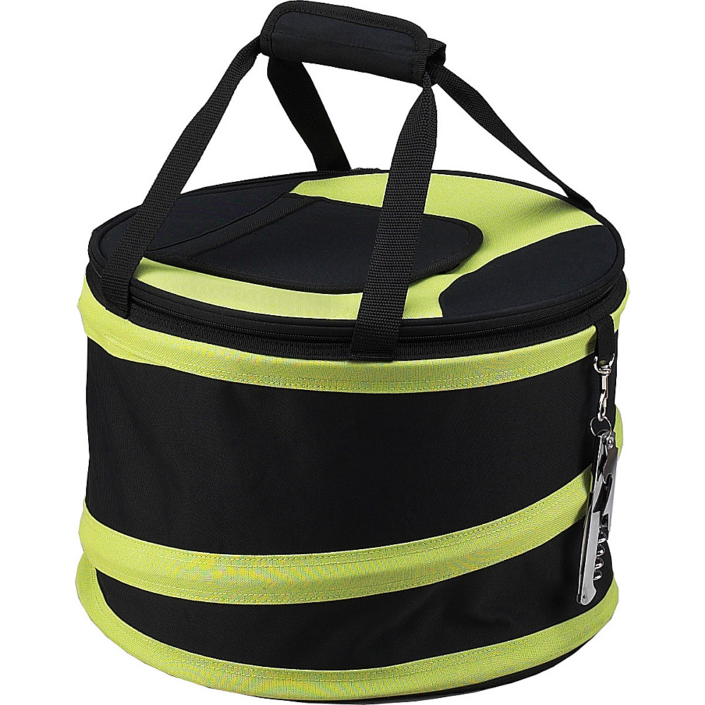 Picnic at Ascot 24 Can Collapsible Cooler with Clip on Corkscrew Black/Apple - Picnic at Ascot Outdoor Coolers - Outdoor, Outdoor Coolers