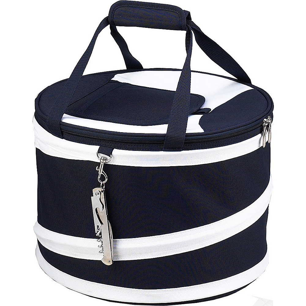 Picnic at Ascot 24 Can Collapsible Cooler with Clip on Corkscrew Navy/White - Picnic at Ascot Outdoor Coolers - Outdoor, Outdoor Coolers