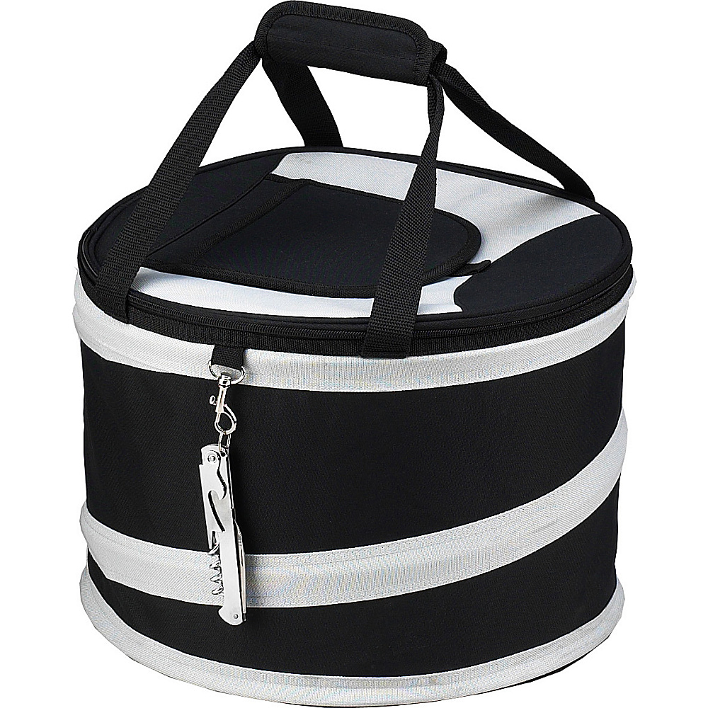 Picnic at Ascot 24 Can Collapsible Cooler with Clip on Corkscrew Black/Grey - Picnic at Ascot Outdoor Coolers - Outdoor, Outdoor Coolers