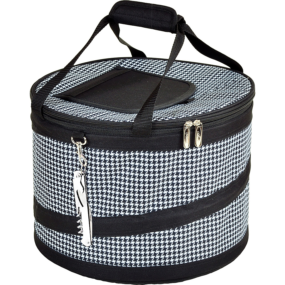 Picnic at Ascot 24 Can Collapsible Cooler with Clip on Corkscrew Houndstooth - Picnic at Ascot Outdoor Coolers - Outdoor, Outdoor Coolers