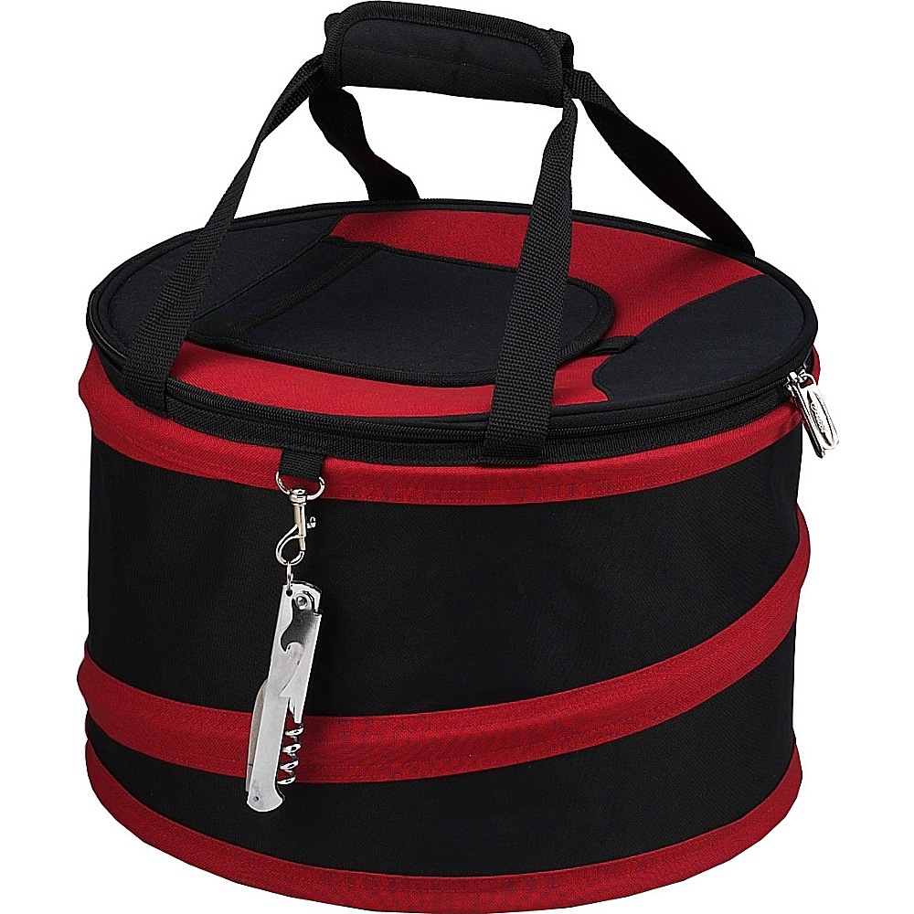 Picnic at Ascot 24 Can Collapsible Cooler with Clip on Corkscrew Black/Red - Picnic at Ascot Outdoor Coolers - Outdoor, Outdoor Coolers