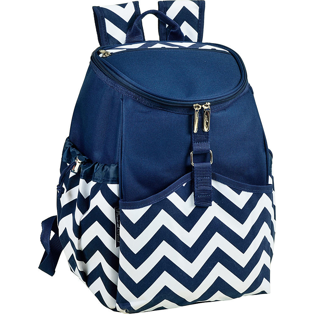 Picnic at Ascot Insulated Backpack Cooler Blue Chevron - Picnic at Ascot Outdoor Coolers - Outdoor, Outdoor Coolers